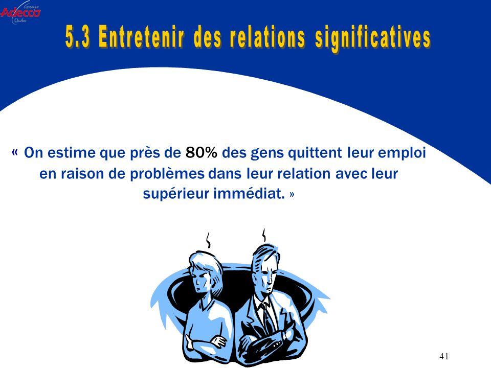 41 « On estime que près de 80% des gens quittent leur emploi en raison de problèmes dans leur relation avec leur supérieur immédiat.