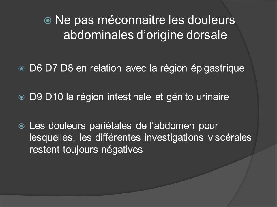 Toute pathologie viscérale chronique, quelle soit fonctionnelle ou organique, peut donner des dysfonctions mécaniques réflexes au niveau du rachis dorsal 3/Les douleurs somato- viscérales ou viscero somatiques