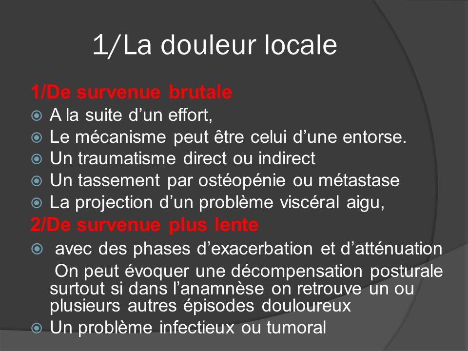 2/Les douleurs projetées De fréquents syndromes douloureux thoraciques pseudo-viscéraux sont en fait des douleurs projetées d origine thoracique.