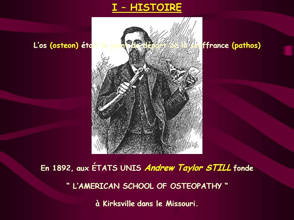 I – HISTOIRE En 1892, aux ÉTATS UNIS Andrew Taylor STILL fonde LAMERICAN SCHOOL OF OSTEOPATHY à Kirksville dans le Missouri. Los (osteon) était le poi