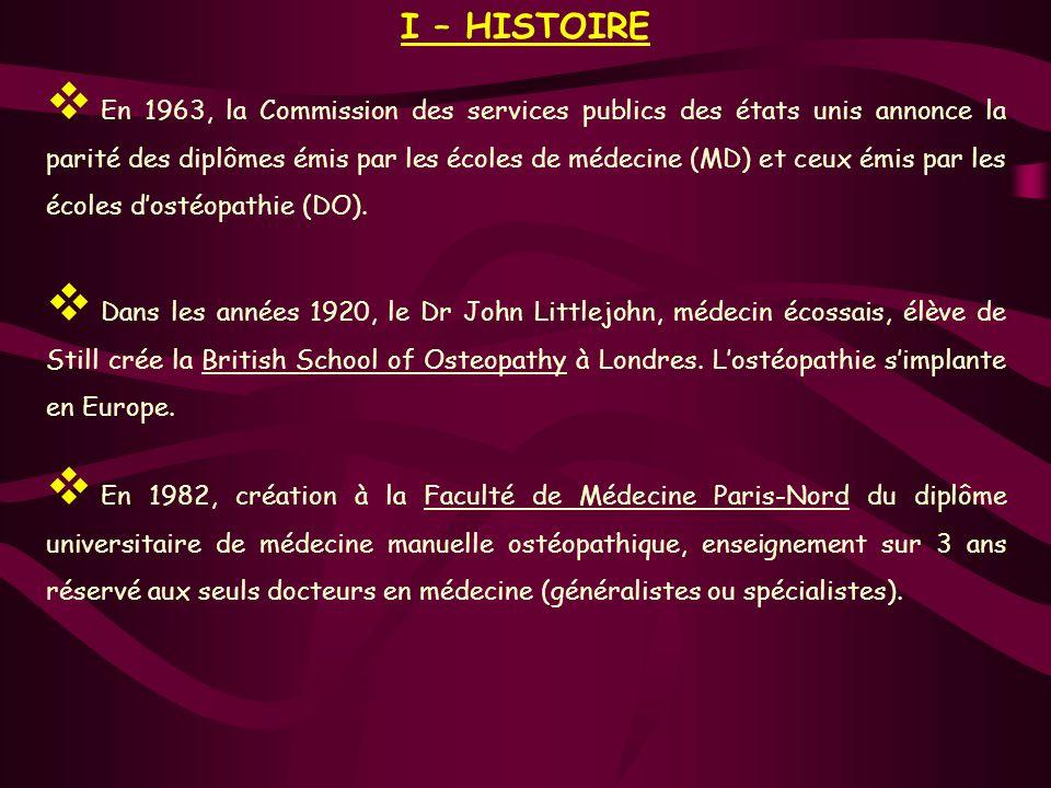 I – HISTOIRE En 1963, la Commission des services publics des états unis annonce la parité des diplômes émis par les écoles de médecine (MD) et ceux émis par les écoles dostéopathie (DO).