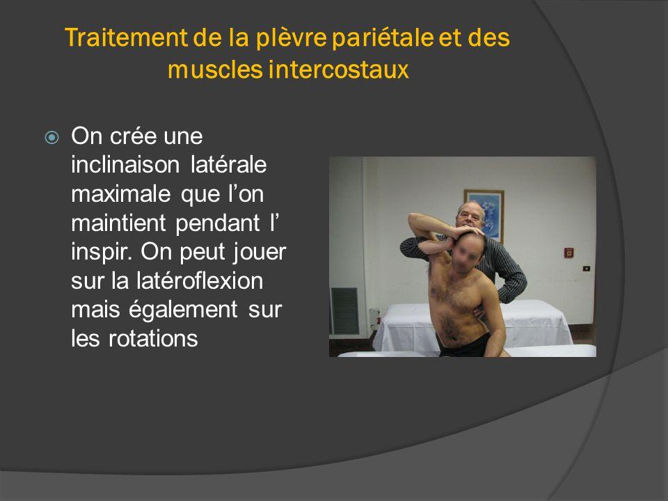Traitement de la plèvre pariétale et des muscles intercostaux On crée une inclinaison latérale maximale que lon maintient pendant l inspir. On peut jo