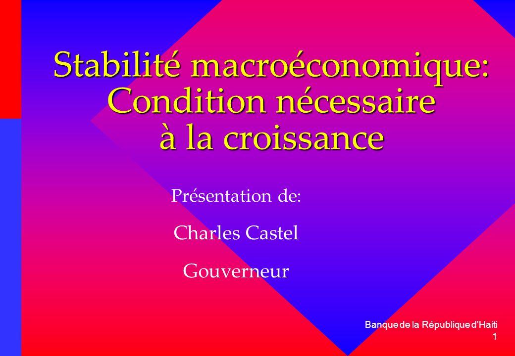 2 Banque de la République d Haiti Introduction La BRH est attachée à la défense de la valeur interne et externe de la monnaie et à létablissement et au maintien dun cadre macroéconomique stable.