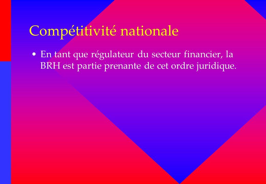 Compétitivité nationale En tant que régulateur du secteur financier, la BRH est partie prenante de cet ordre juridique.