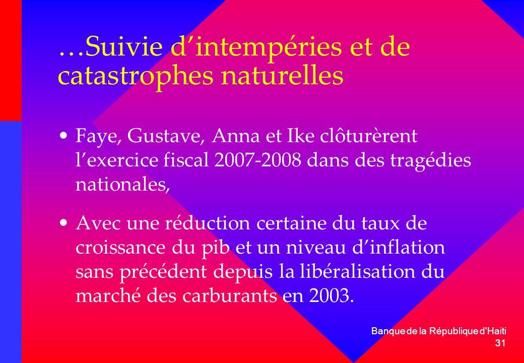 31 Banque de la République d'Haiti 31 …Suivie dintempéries et de catastrophes naturelles Faye, Gustave, Anna et Ike clôturèrent lexercice fiscal 2007-