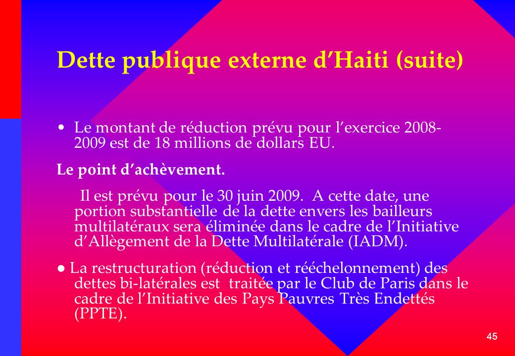 45 Dette publique externe dHaiti (suite) Le montant de réduction prévu pour lexercice 2008- 2009 est de 18 millions de dollars EU. Le point dachèvemen