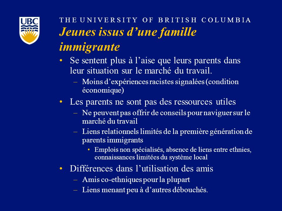 T H E U N I V E R S I T Y O F B R I T I S H C O L U M B I A Jeunes issus dune famille immigrante Se sentent plus à laise que leurs parents dans leur situation sur le marché du travail.