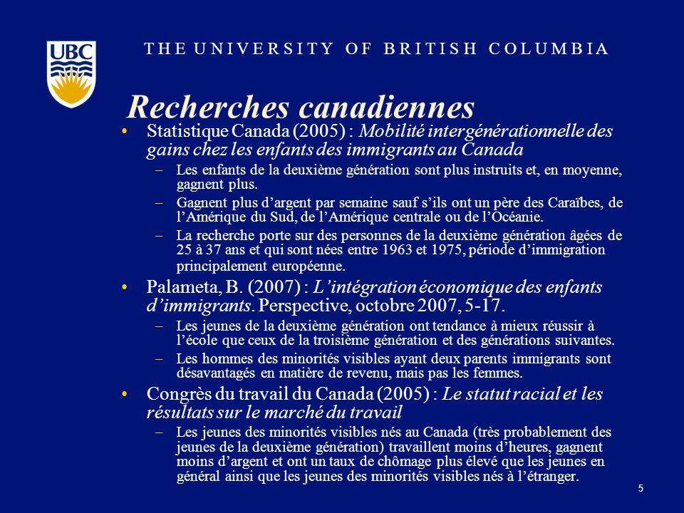 T H E U N I V E R S I T Y O F B R I T I S H C O L U M B I A Recherches canadiennes Statistique Canada (2005) : Mobilité intergénérationnelle des gains chez les enfants des immigrants au Canada –Les enfants de la deuxième génération sont plus instruits et, en moyenne, gagnent plus.