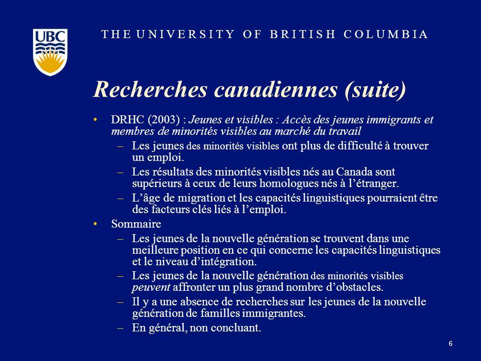 T H E U N I V E R S I T Y O F B R I T I S H C O L U M B I A Recherches canadiennes (suite) DRHC (2003) : Jeunes et visibles : Accès des jeunes immigra