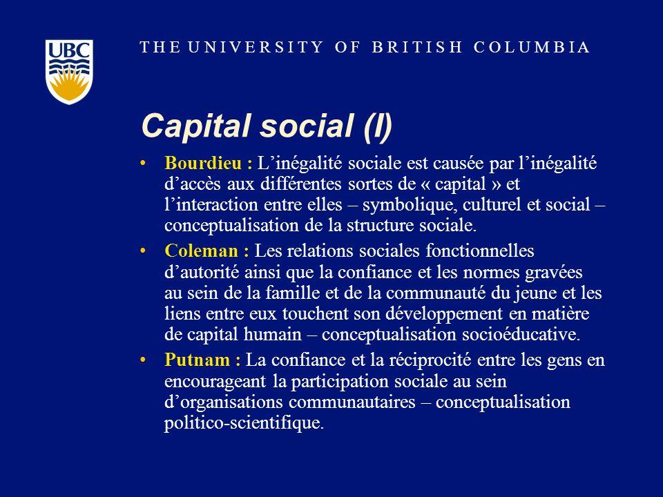 T H E U N I V E R S I T Y O F B R I T I S H C O L U M B I A Capital social (I) Bourdieu : Linégalité sociale est causée par linégalité daccès aux différentes sortes de « capital » et linteraction entre elles – symbolique, culturel et social – conceptualisation de la structure sociale.