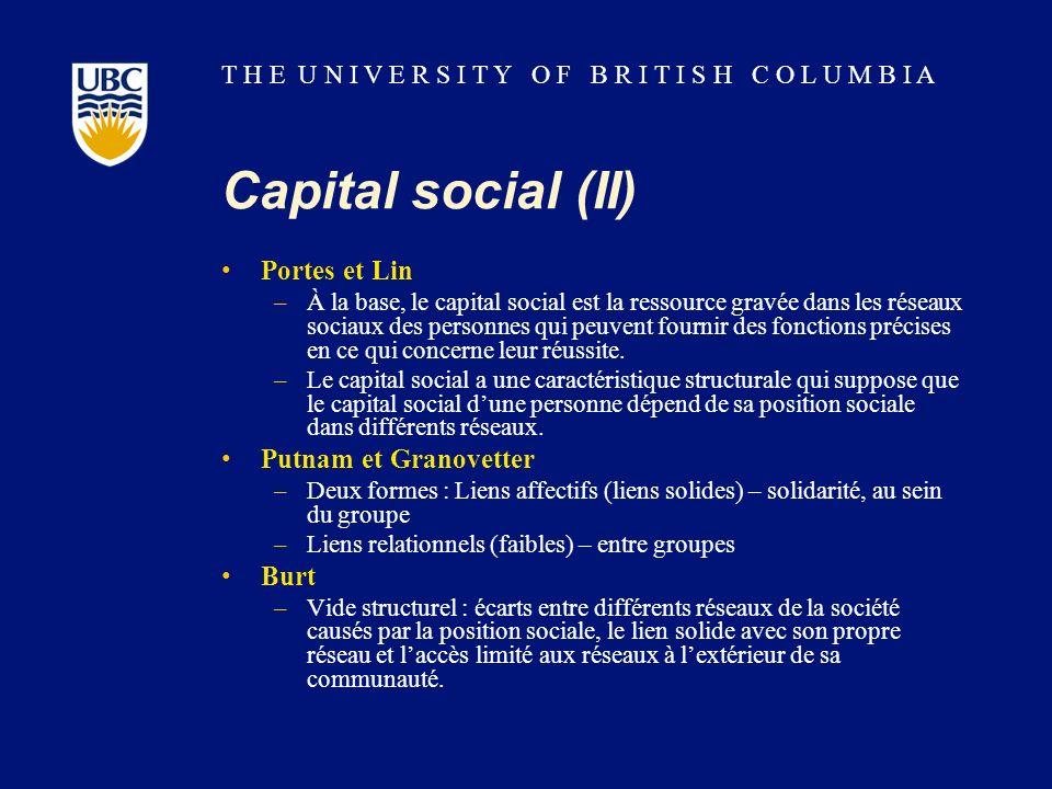 T H E U N I V E R S I T Y O F B R I T I S H C O L U M B I A Capital social (II) Portes et Lin –À la base, le capital social est la ressource gravée da