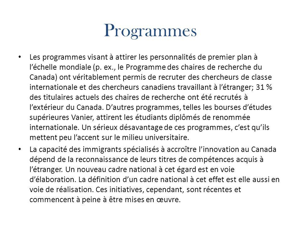 Programmes Les programmes visant à attirer les personnalités de premier plan à léchelle mondiale (p.