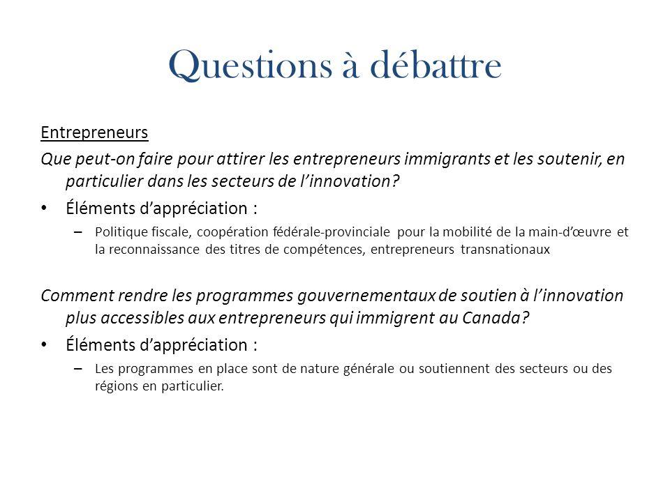Questions à débattre Entrepreneurs Que peut-on faire pour attirer les entrepreneurs immigrants et les soutenir, en particulier dans les secteurs de linnovation.