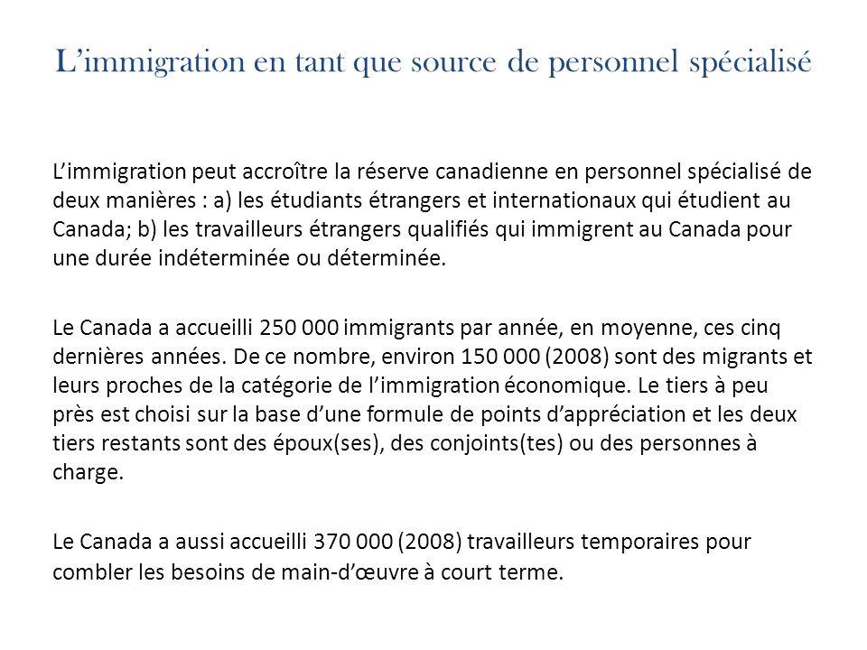 Limmigration en tant que source de personnel spécialisé Limmigration peut accroître la réserve canadienne en personnel spécialisé de deux manières : a) les étudiants étrangers et internationaux qui étudient au Canada; b) les travailleurs étrangers qualifiés qui immigrent au Canada pour une durée indéterminée ou déterminée.
