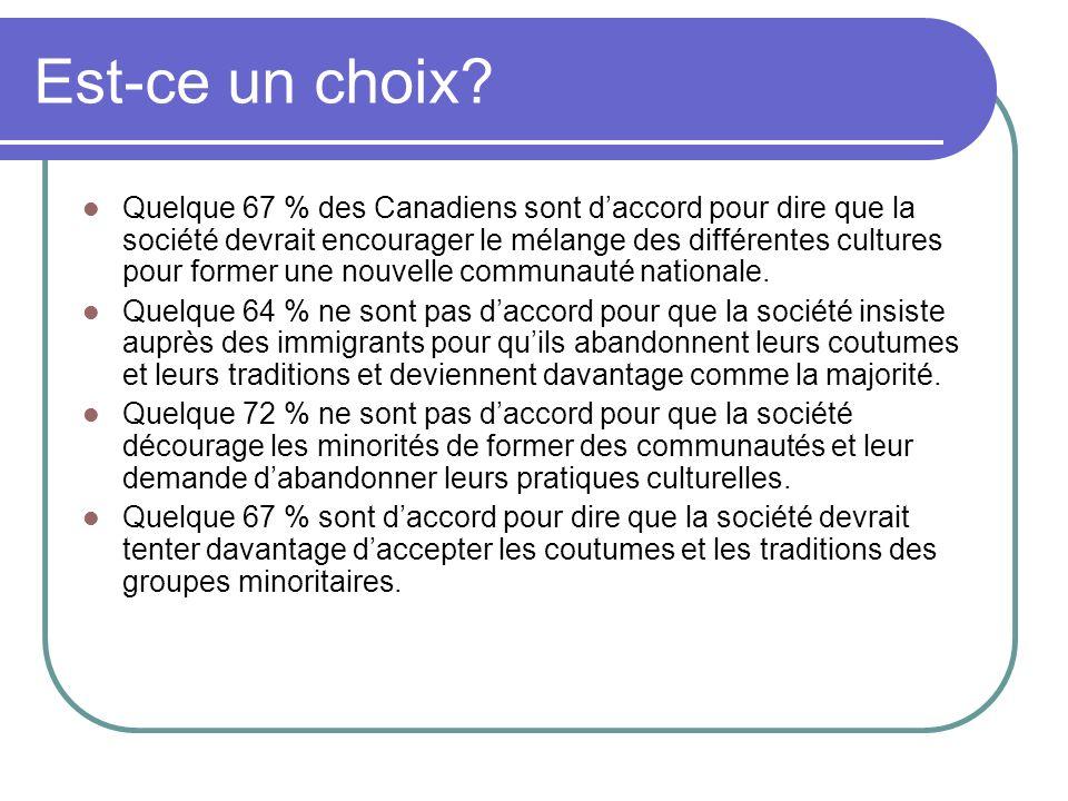 Est-ce un choix? Quelque 67 % des Canadiens sont daccord pour dire que la société devrait encourager le mélange des différentes cultures pour former u