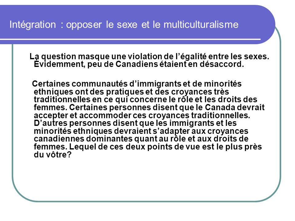 Intégration : opposer le sexe et le multiculturalisme La question masque une violation de légalité entre les sexes. Évidemment, peu de Canadiens étaie