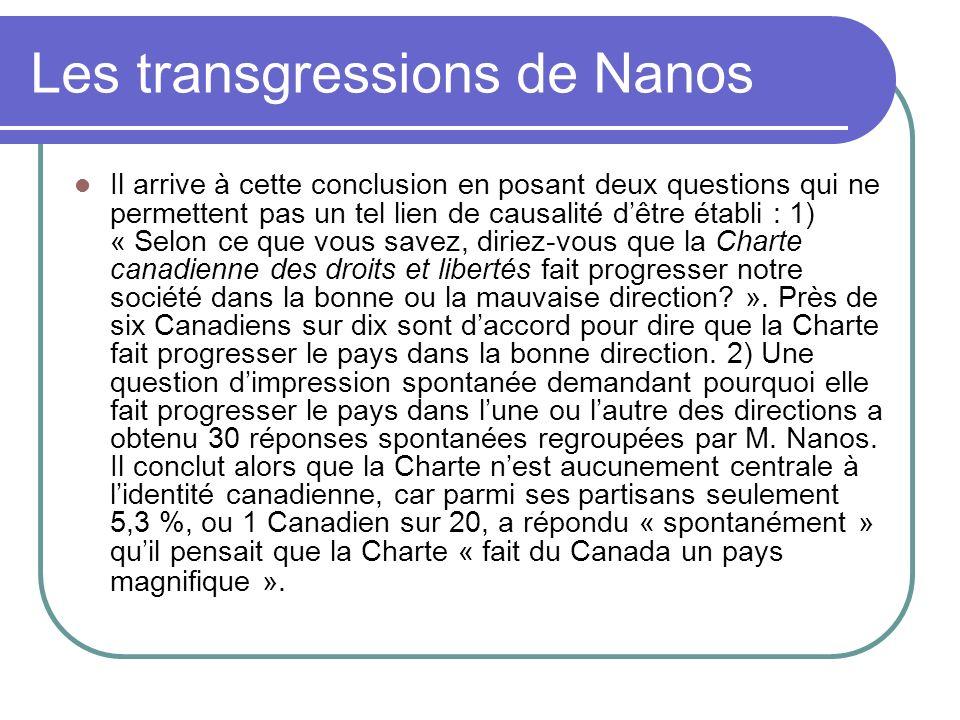 Les transgressions de Nanos Il arrive à cette conclusion en posant deux questions qui ne permettent pas un tel lien de causalité dêtre établi : 1) « S