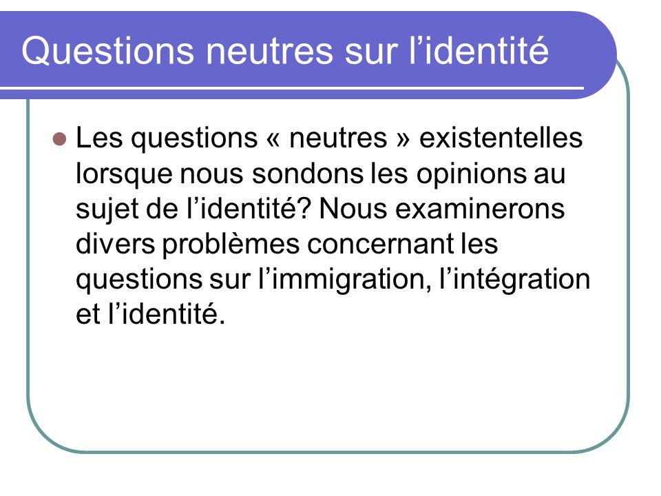 Questions neutres sur lidentité Les questions « neutres » existentelles lorsque nous sondons les opinions au sujet de lidentité? Nous examinerons div