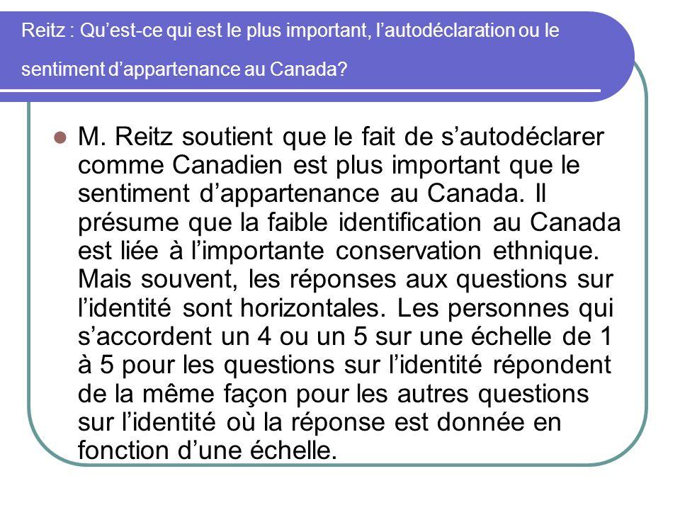 Reitz : Quest-ce qui est le plus important, lautodéclaration ou le sentiment dappartenance au Canada? M. Reitz soutient que le fait de sautodéclarer c