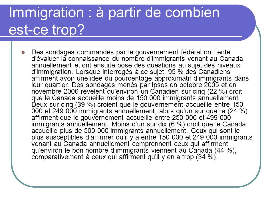 Immigration : à partir de combien est-ce trop? Des sondages commandés par le gouvernement fédéral ont tenté dévaluer la connaissance du nombre dimmigr
