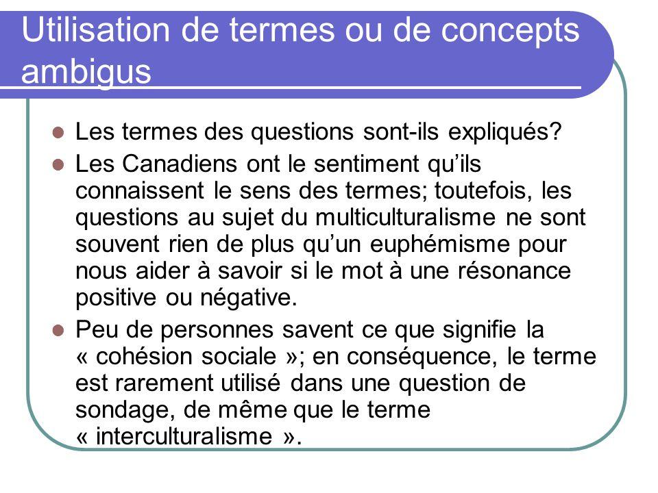Utilisation de termes ou de concepts ambigus Les termes des questions sont-ils expliqués? Les Canadiens ont le sentiment quils connaissent le sens des