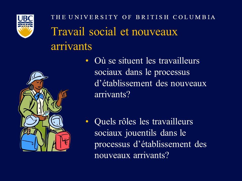 T H E U N I V E R S I T Y O F B R I T I S H C O L U M B I A Travail social et nouveaux arrivants Où se situent les travailleurs sociaux dans le processus détablissement des nouveaux arrivants.