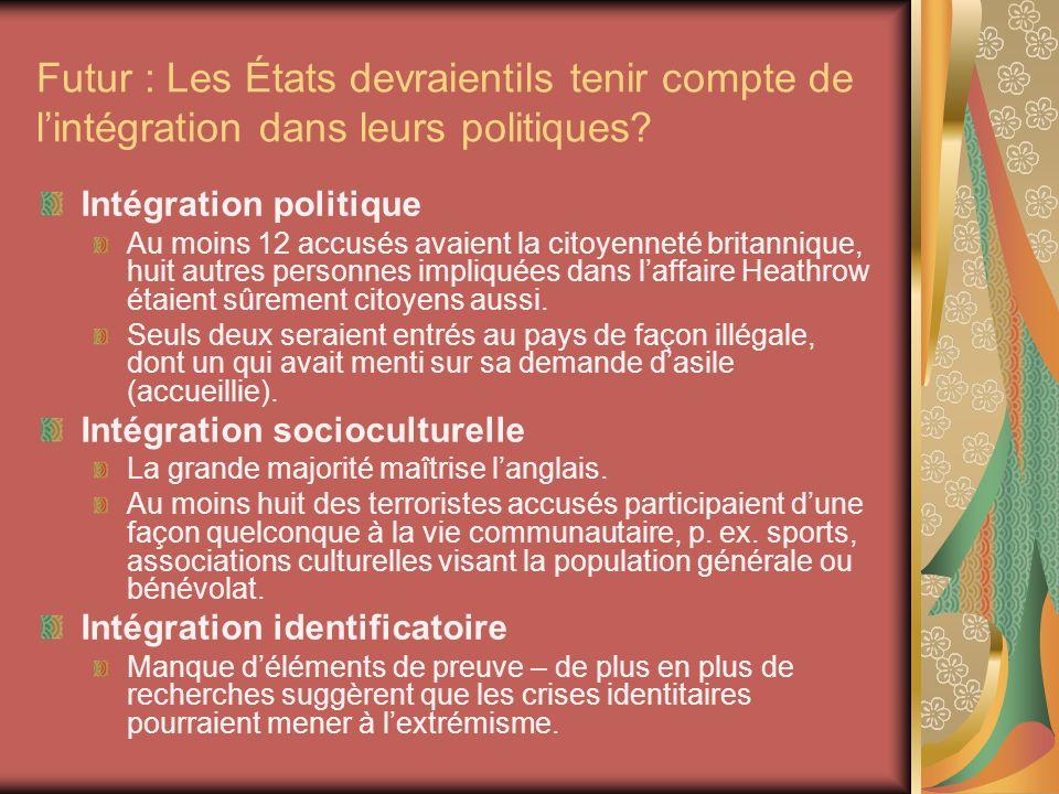 Futur : Les États devraientils tenir compte de lintégration dans leurs politiques? Intégration politique Au moins 12 accusés avaient la citoyenneté b