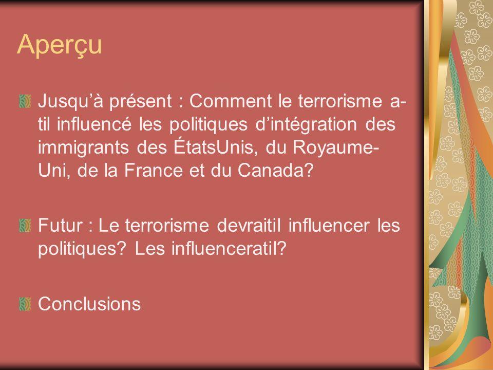 Aperçu Jusquà présent : Comment le terrorisme a til influencé les politiques dintégration des immigrants des ÉtatsUnis, du Royaume Uni, de la France et du Canada.