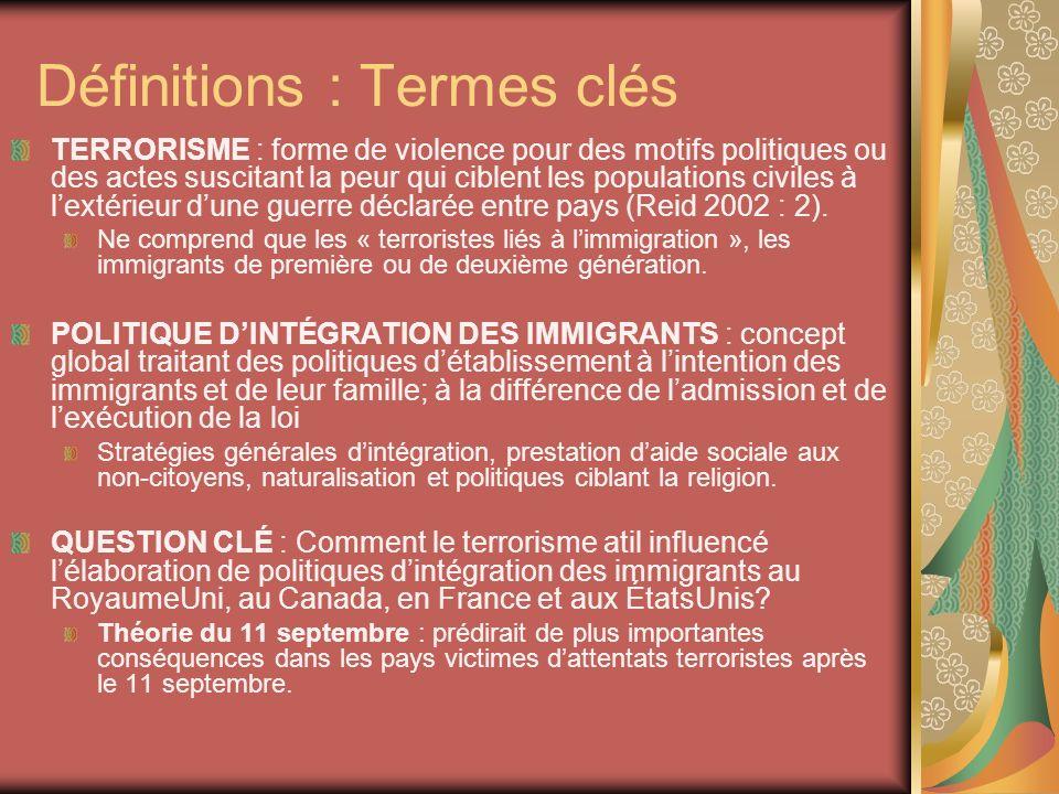 Définitions : Termes clés TERRORISME : forme de violence pour des motifs politiques ou des actes suscitant la peur qui ciblent les populations civiles à lextérieur dune guerre déclarée entre pays (Reid 2002 : 2).