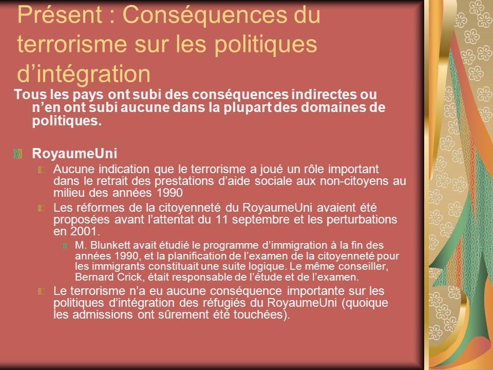 Présent : Conséquences du terrorisme sur les politiques dintégration Tous les pays ont subi des conséquences indirectes ou nen ont subi aucune dans la