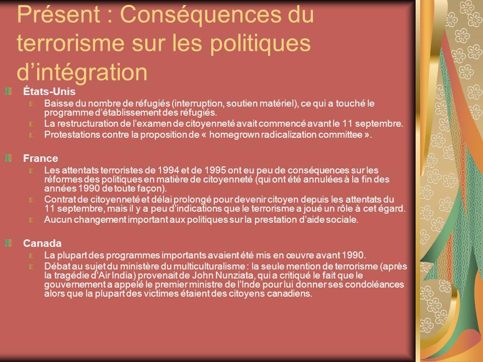 Présent : Conséquences du terrorisme sur les politiques dintégration États-Unis Baisse du nombre de réfugiés (interruption, soutien matériel), ce qui a touché le programme détablissement des réfugiés.