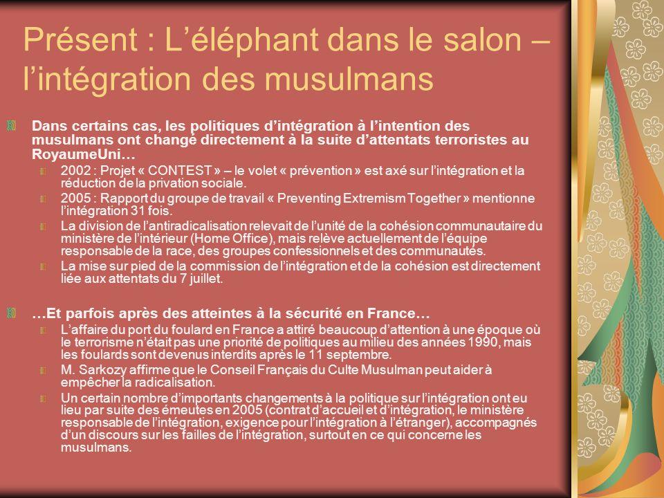 Présent : Léléphant dans le salon – lintégration des musulmans Dans certains cas, les politiques dintégration à lintention des musulmans ont changé di