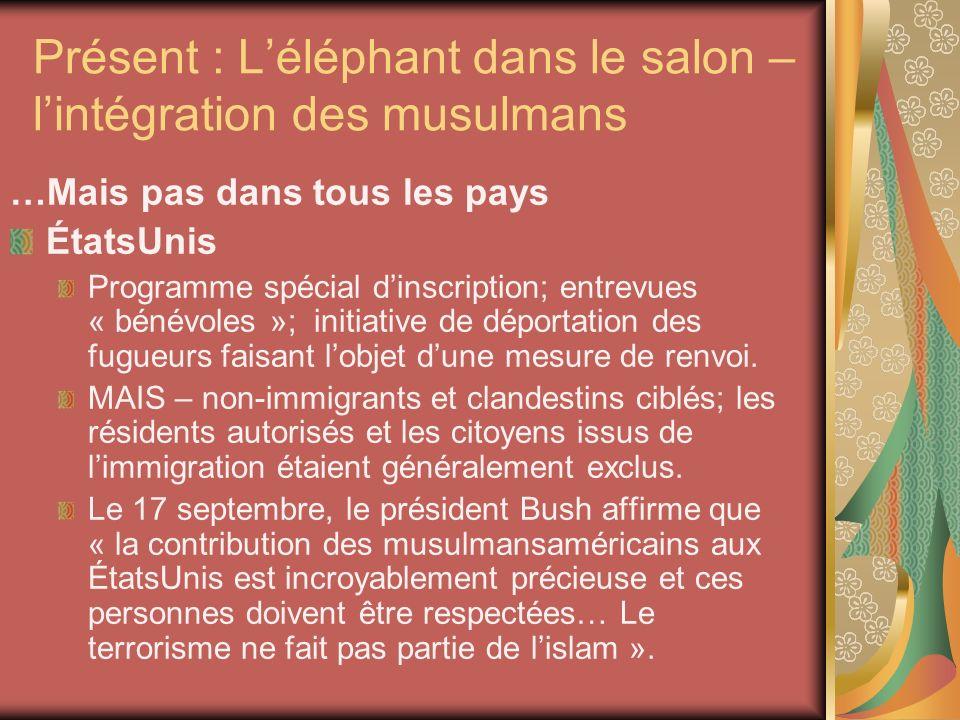 Présent : Léléphant dans le salon – lintégration des musulmans …Mais pas dans tous les pays ÉtatsUnis Programme spécial dinscription; entrevues « bénévoles »; initiative de déportation des fugueurs faisant lobjet dune mesure de renvoi.