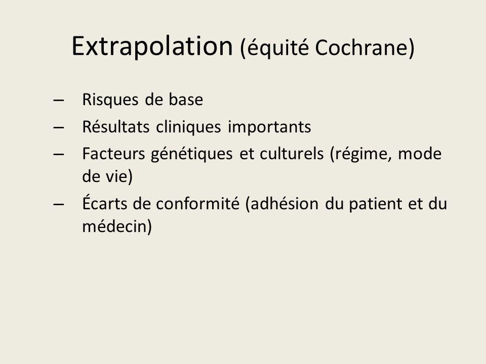Extrapolation (équité Cochrane) – Risques de base – Résultats cliniques importants – Facteurs génétiques et culturels (régime, mode de vie) – Écarts de conformité (adhésion du patient et du médecin)