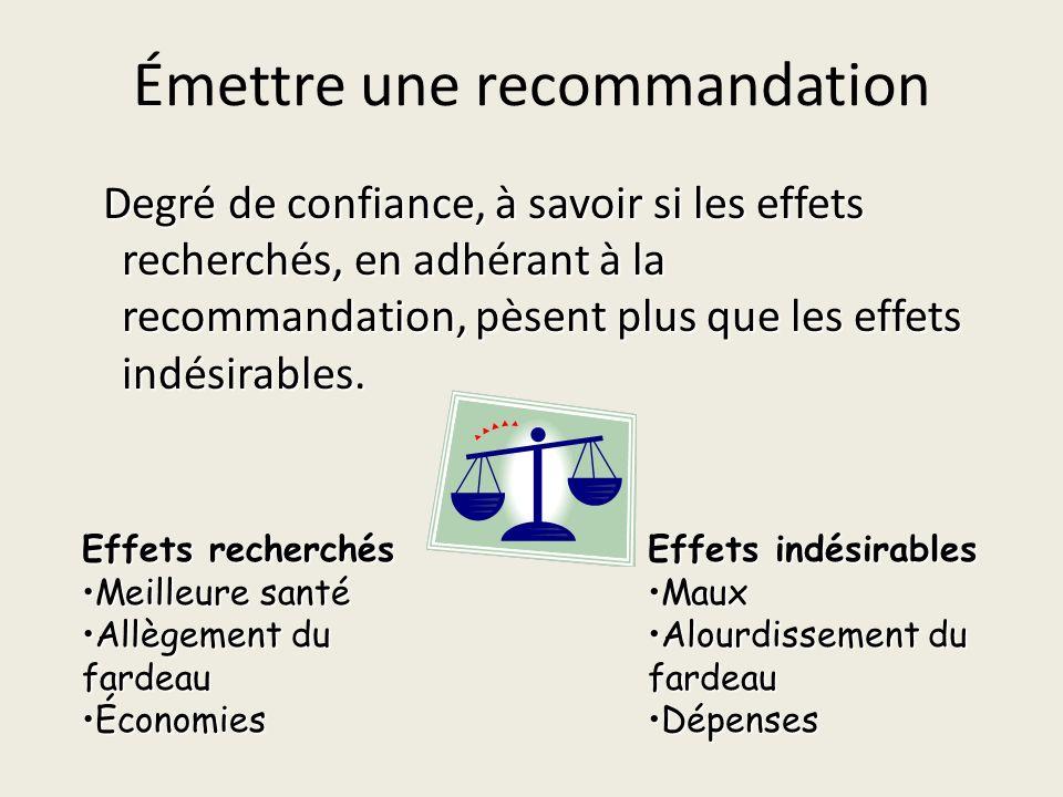 Émettre une recommandation Degré de confiance, à savoir si les effets recherchés, en adhérant à la recommandation, pèsent plus que les effets indésirables.