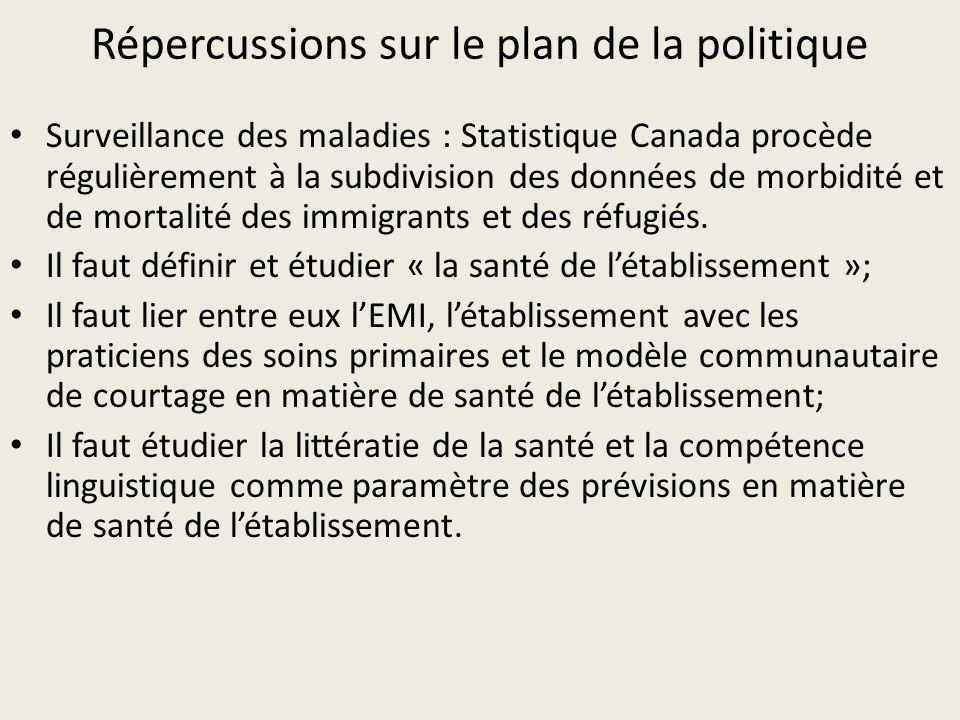 Répercussions sur le plan de la politique Surveillance des maladies : Statistique Canada procède régulièrement à la subdivision des données de morbidité et de mortalité des immigrants et des réfugiés.