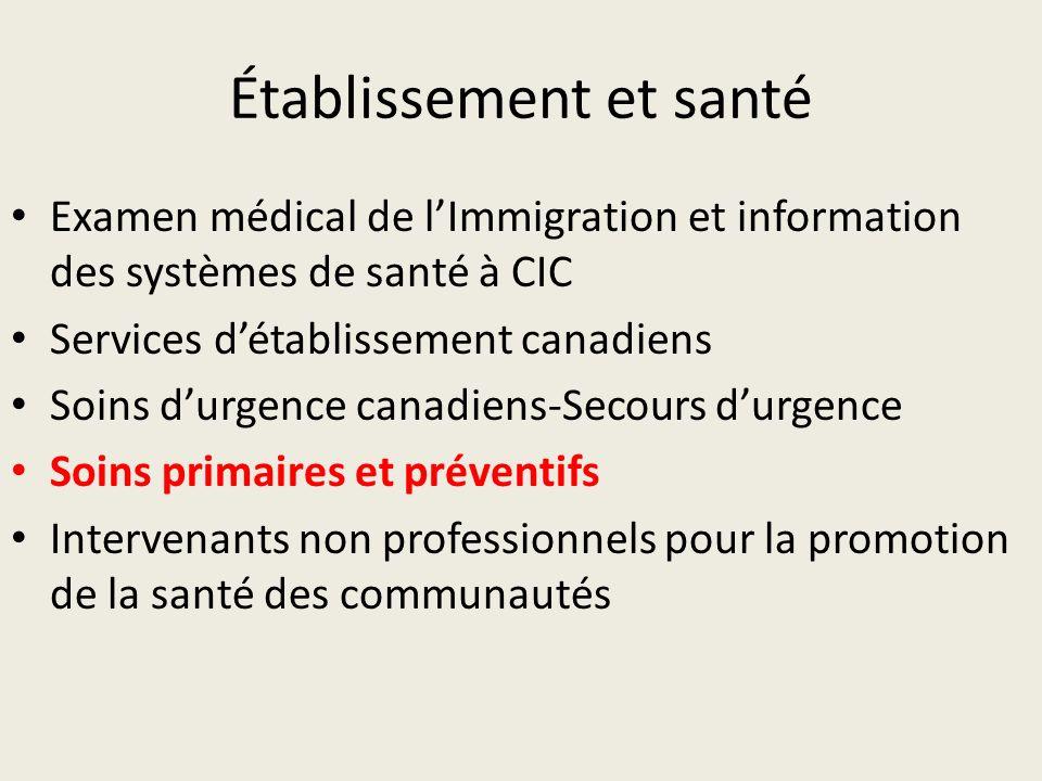 Établissement et santé Examen médical de lImmigration et information des systèmes de santé à CIC Services détablissement canadiens Soins durgence canadiens-Secours durgence Soins primaires et préventifs Intervenants non professionnels pour la promotion de la santé des communautés