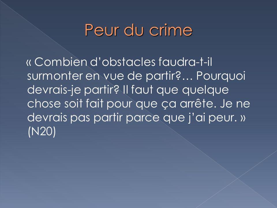Peur du crime « Combien dobstacles faudra-t-il surmonter en vue de partir?… Pourquoi devrais-je partir? Il faut que quelque chose soit fait pour que ç