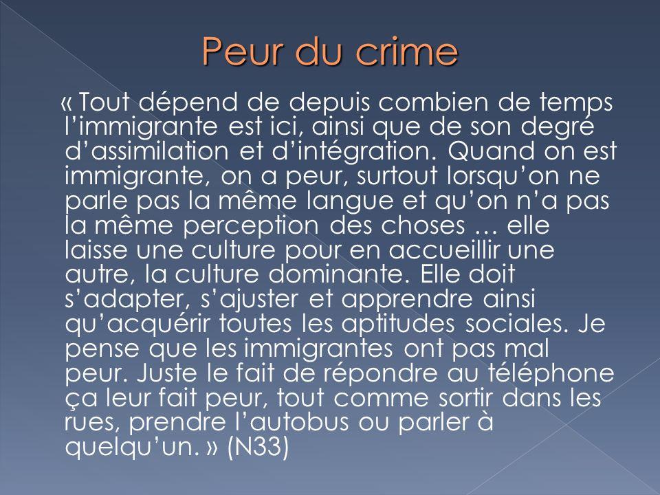 Peur du crime « Tout dépend de depuis combien de temps limmigrante est ici, ainsi que de son degré dassimilation et dintégration. Quand on est immigra