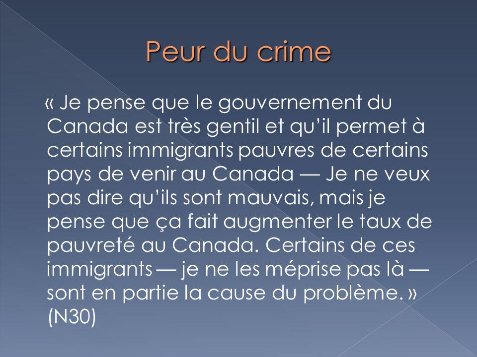 Peur du crime « Je pense que le gouvernement du Canada est très gentil et quil permet à certains immigrants pauvres de certains pays de venir au Canad