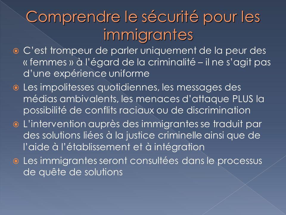 Comprendre le sécurité pour les immigrantes Cest trompeur de parler uniquement de la peur des « femmes » à légard de la criminalité – il ne sagit pas