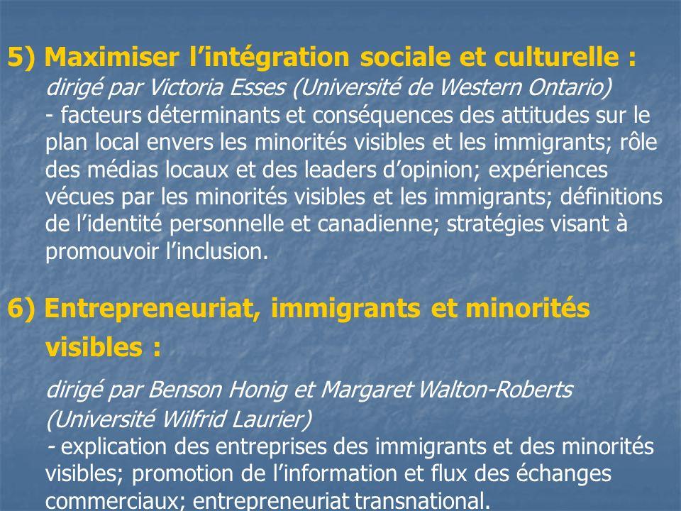 5) Maximiser lintégration sociale et culturelle : dirigé par Victoria Esses (Université de Western Ontario) - facteurs déterminants et conséquences des attitudes sur le plan local envers les minorités visibles et les immigrants; rôle des médias locaux et des leaders dopinion; expériences vécues par les minorités visibles et les immigrants; définitions de lidentité personnelle et canadienne; stratégies visant à promouvoir linclusion.