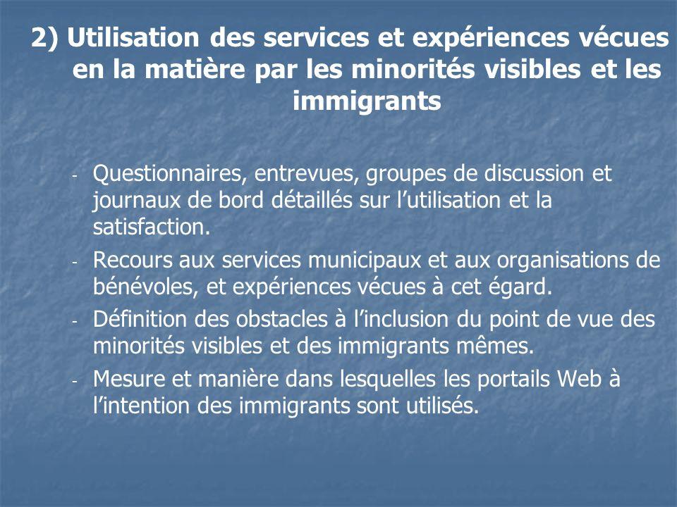 2) Utilisation des services et expériences vécues en la matière par les minorités visibles et les immigrants - - Questionnaires, entrevues, groupes de discussion et journaux de bord détaillés sur lutilisation et la satisfaction.