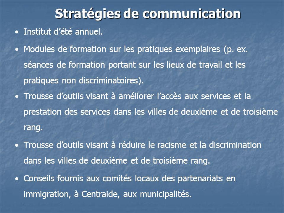 Stratégies de communication Institut dété annuel.