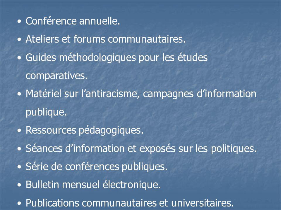 Conférence annuelle. Ateliers et forums communautaires.