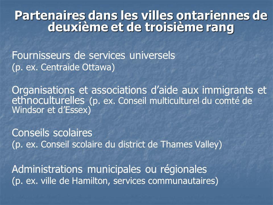 Partenaires dans les villes ontariennes de deuxième et de troisième rang Fournisseurs de services universels (p.