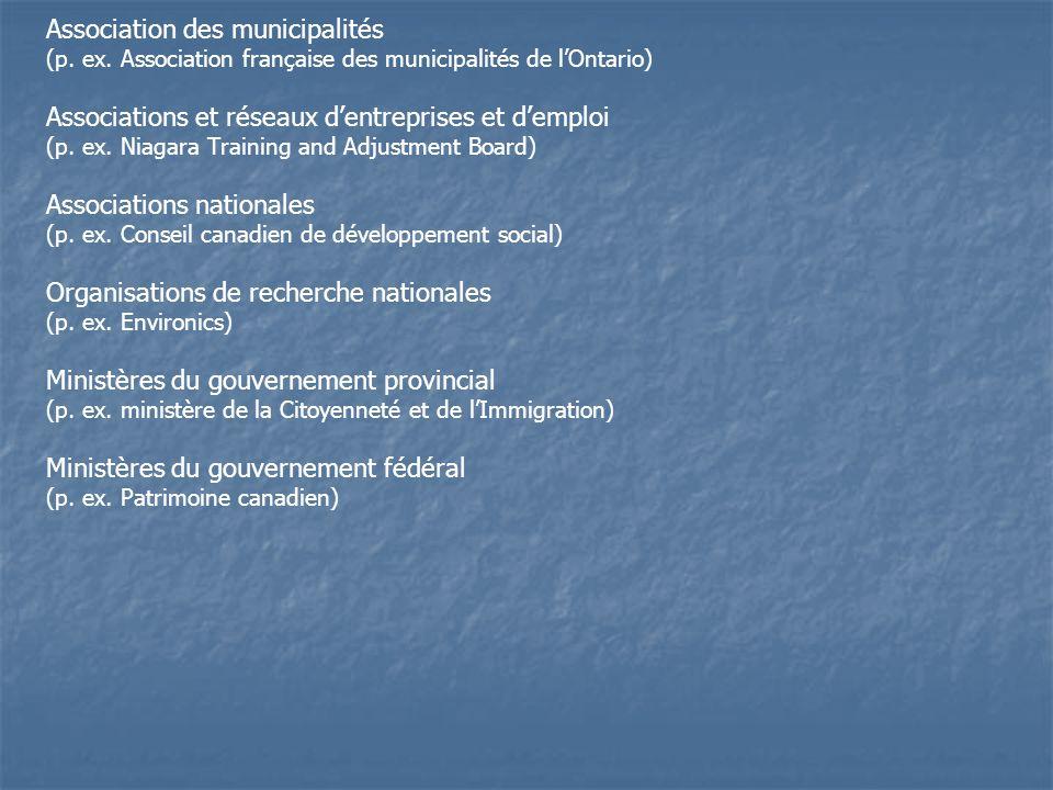 Association des municipalités (p. ex.