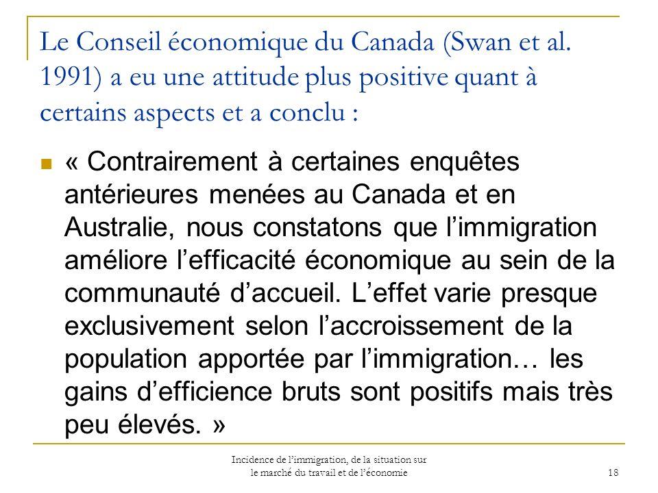 Incidence de limmigration, de la situation sur le marché du travail et de léconomie 18 Le Conseil économique du Canada (Swan et al.