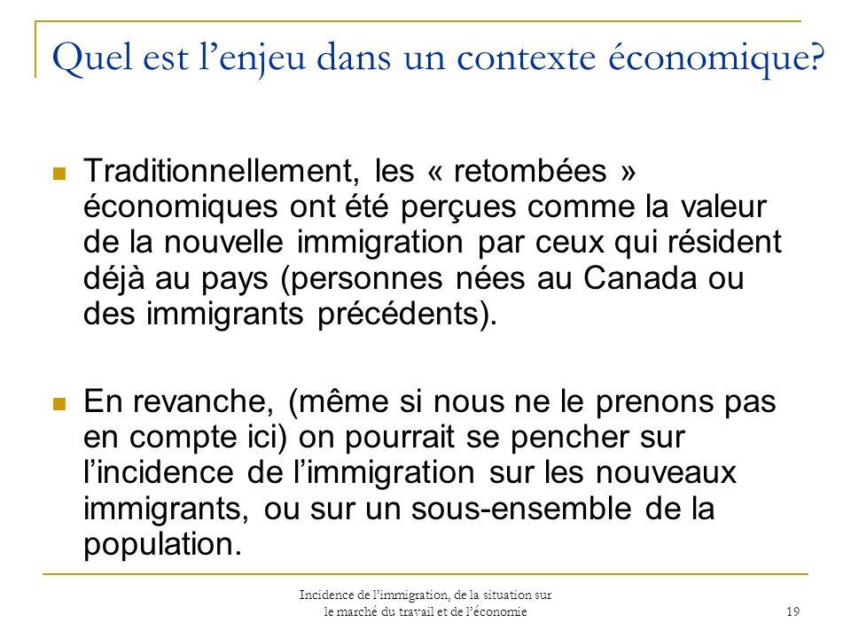 Incidence de limmigration, de la situation sur le marché du travail et de léconomie 19 Quel est lenjeu dans un contexte économique.
