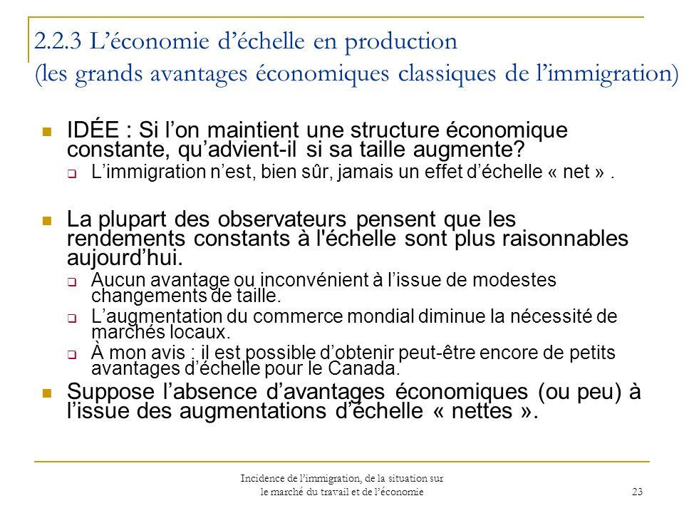 Incidence de limmigration, de la situation sur le marché du travail et de léconomie 23 2.2.3 Léconomie déchelle en production (les grands avantages économiques classiques de limmigration) IDÉE : Si lon maintient une structure économique constante, quadvient-il si sa taille augmente.